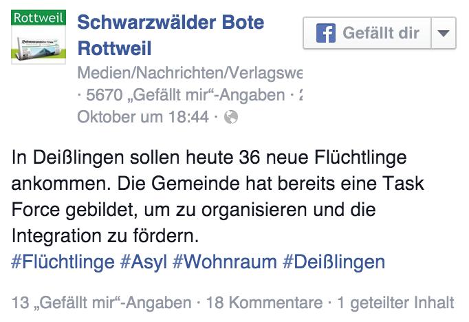 Facebook: In Deißlingen sollen heute 36 neue Flüchtlinge ankommen.