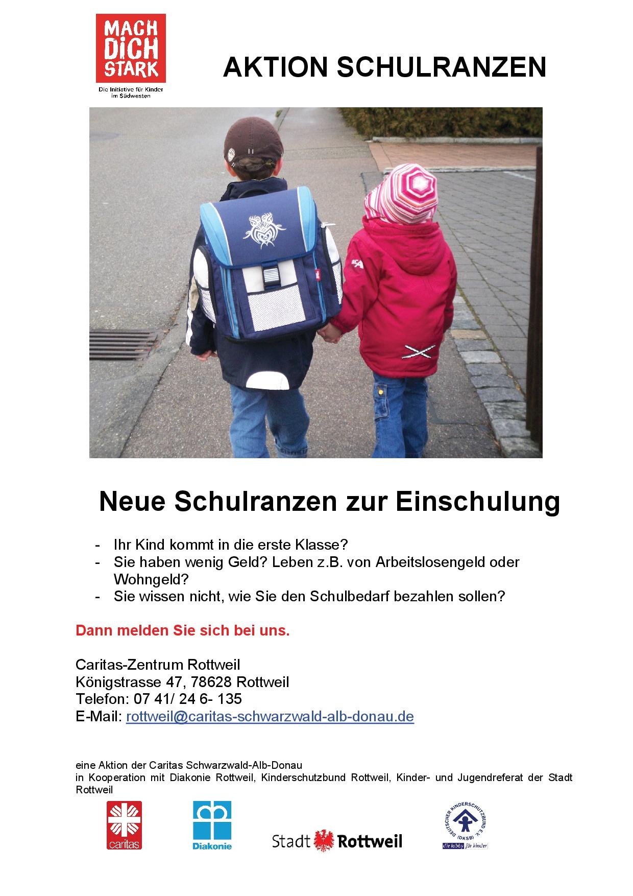 Aktion Schulranzen: Neue Schulranzen zur Einschulung