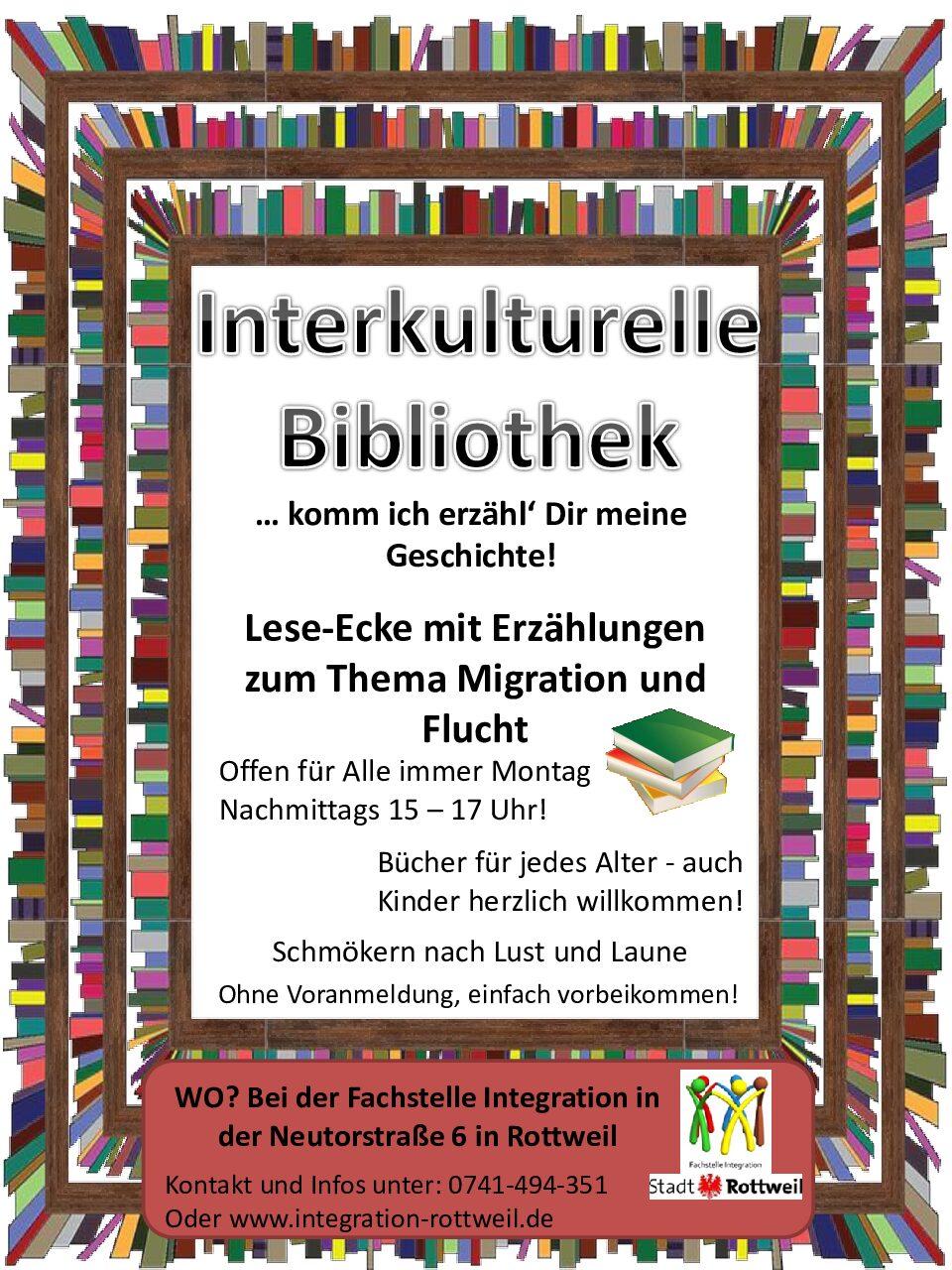 """Ab dem 20.09.2021 öffnet die """"Interkulturelle Lese-Ecke"""" für interessierte Bürger"""